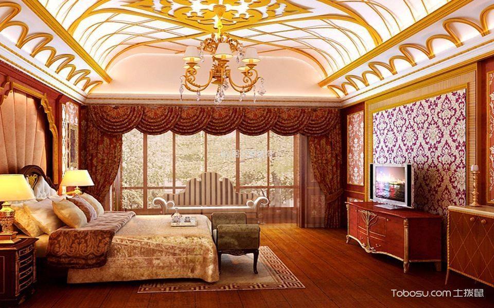 卧室红色电视柜简欧风格效果图