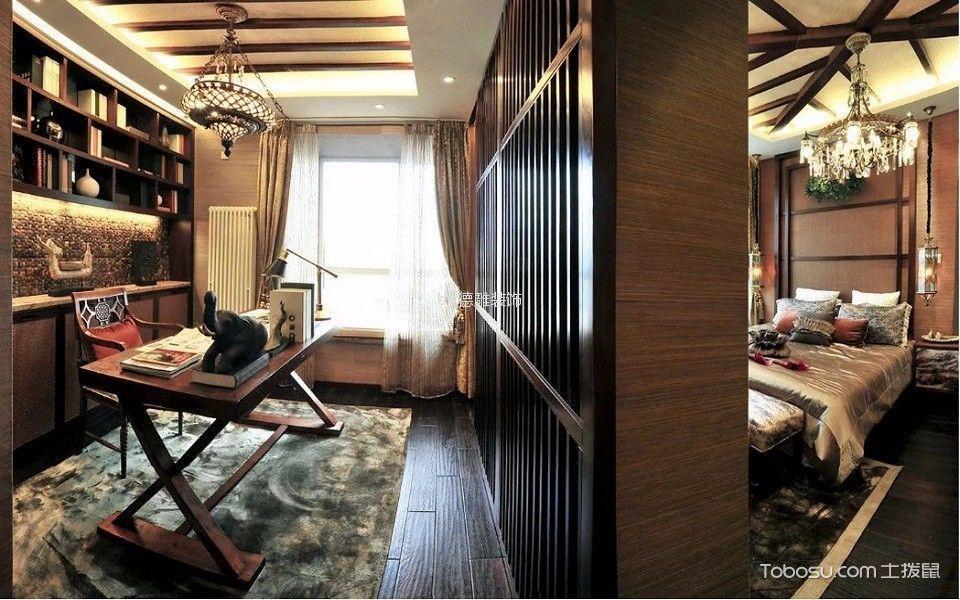 书房咖啡色书桌东南亚风格装潢设计图片