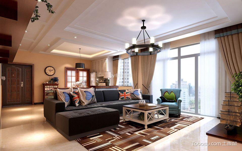 客厅黑色灯具美式风格装饰设计图片