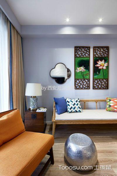 客厅黄色窗帘北欧风格装潢图片