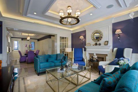 名士豪庭170平美式蓝调的优雅装修效果图