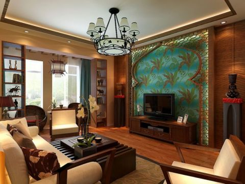 富兴旺角三居室东南亚风格装修效果图