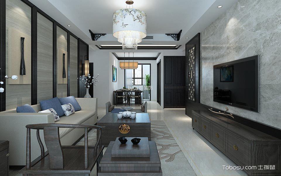 泰安华新山居136平新中式风格三居室装修效果图