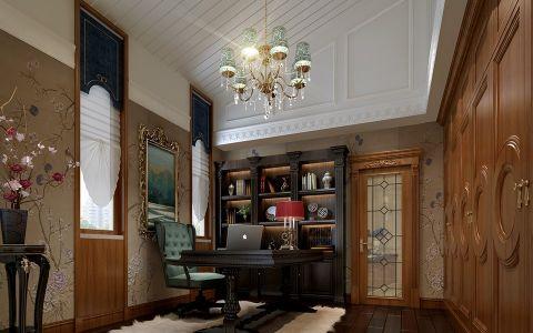 书房背景墙新古典风格装饰设计图片