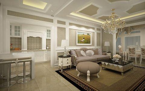 客厅吊顶欧式田园风格效果图