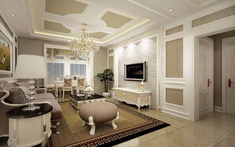 客厅背景墙欧式田园风格装饰效果图