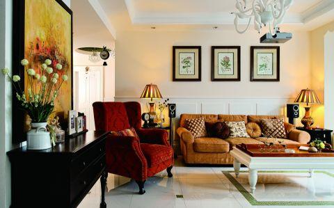 绿地之窗三居室混搭风格效果图