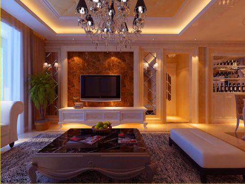 卢浮宫馆现代欧式三室一厅效果图