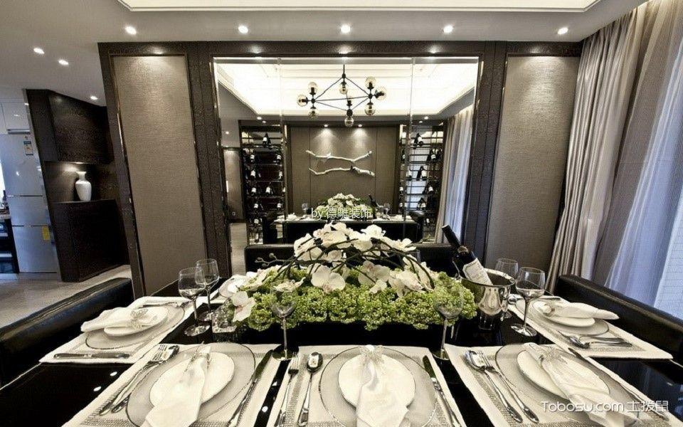 餐厅灰色窗帘现代风格装潢图片
