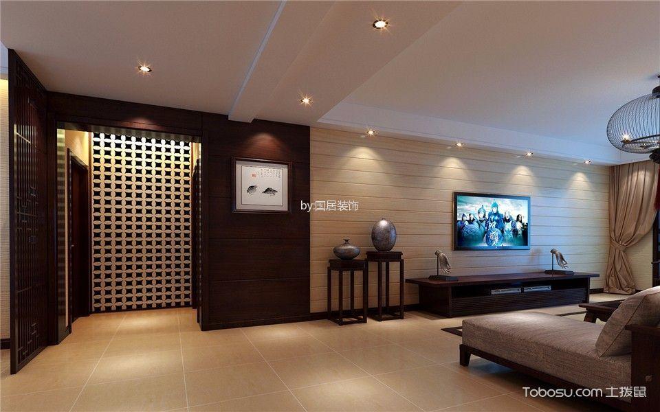 客厅白色吊顶新中式风格装修图片_土拨鼠装修效果图图片