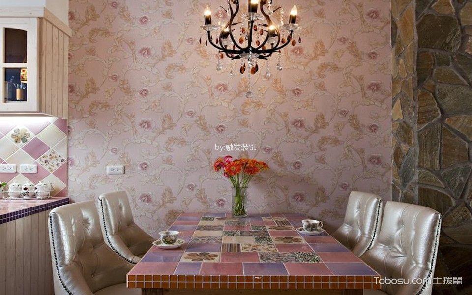 餐厅红色背景墙田园风格装饰图片