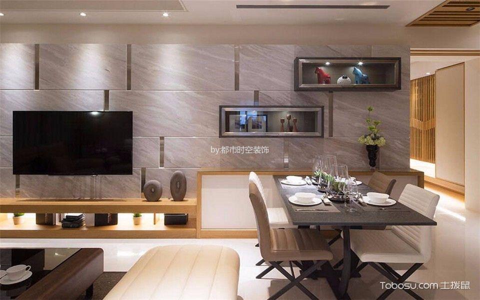 客厅灰色电视背景墙混搭风格装潢图片