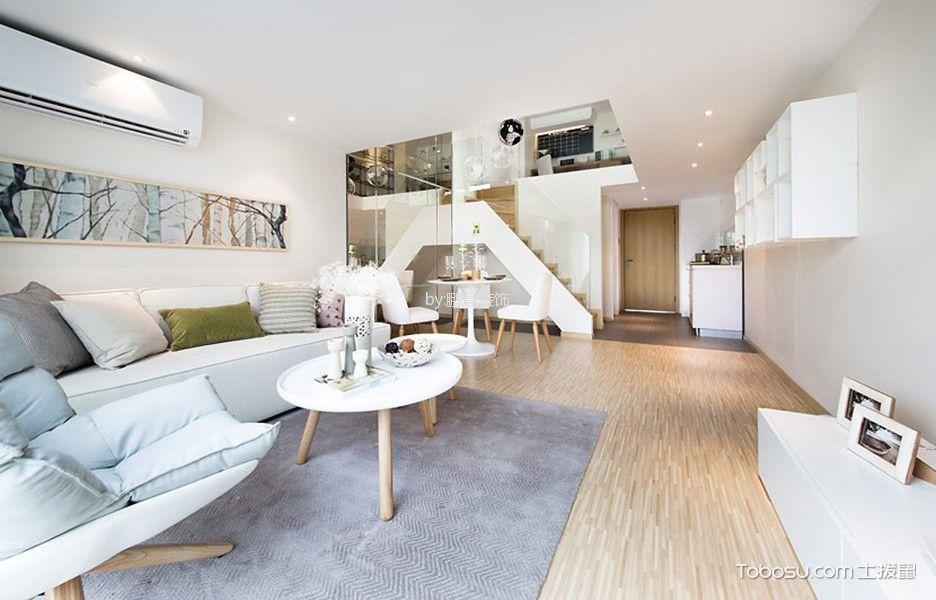 客厅白色楼梯北欧风格装饰图片