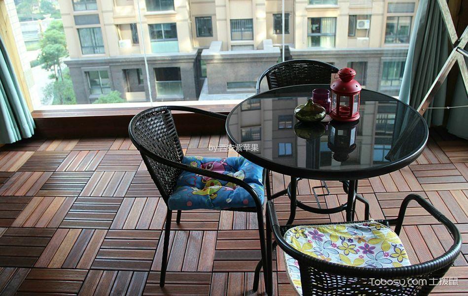 阳台咖啡色地板砖美式风格装潢设计图片
