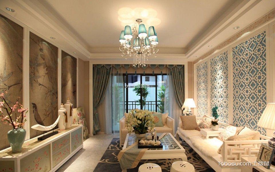 东裕新村100平米中式风格三居室装修效果图