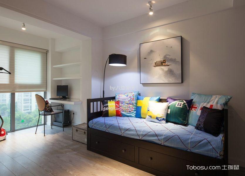 书房黑色沙发现代风格装潢效果图