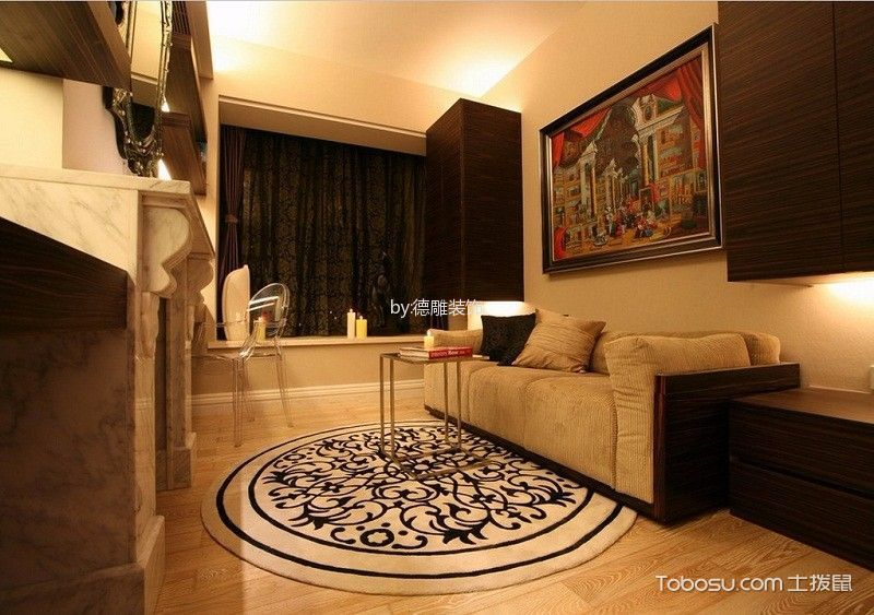 书房红色沙发现代简约风格效果图