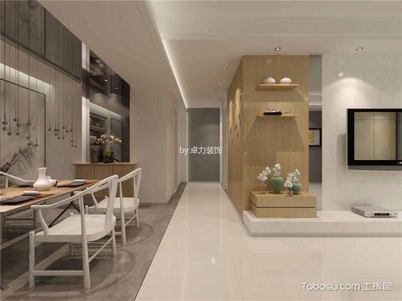 客厅白色地砖新中式风格装修效果图