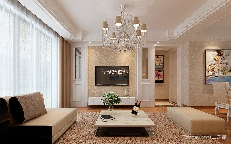 滨湖翰林苑100平米简约风格三居室装修效果图