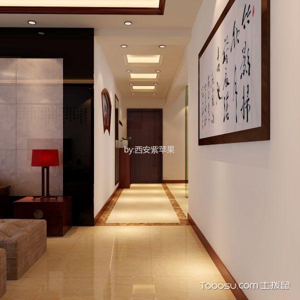 玄关黄色走廊新中式风格装饰效果图
