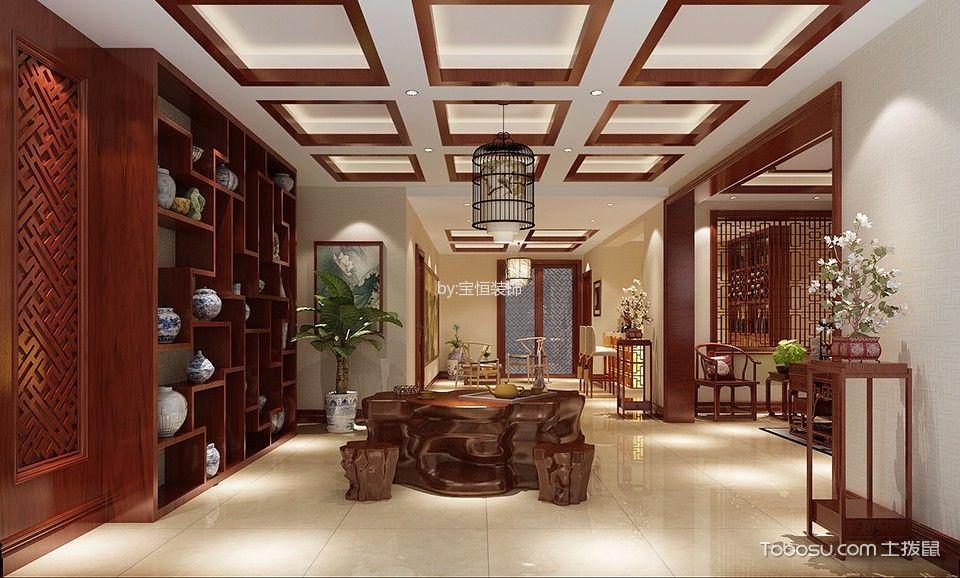 客厅吊顶中式风格效果图图片