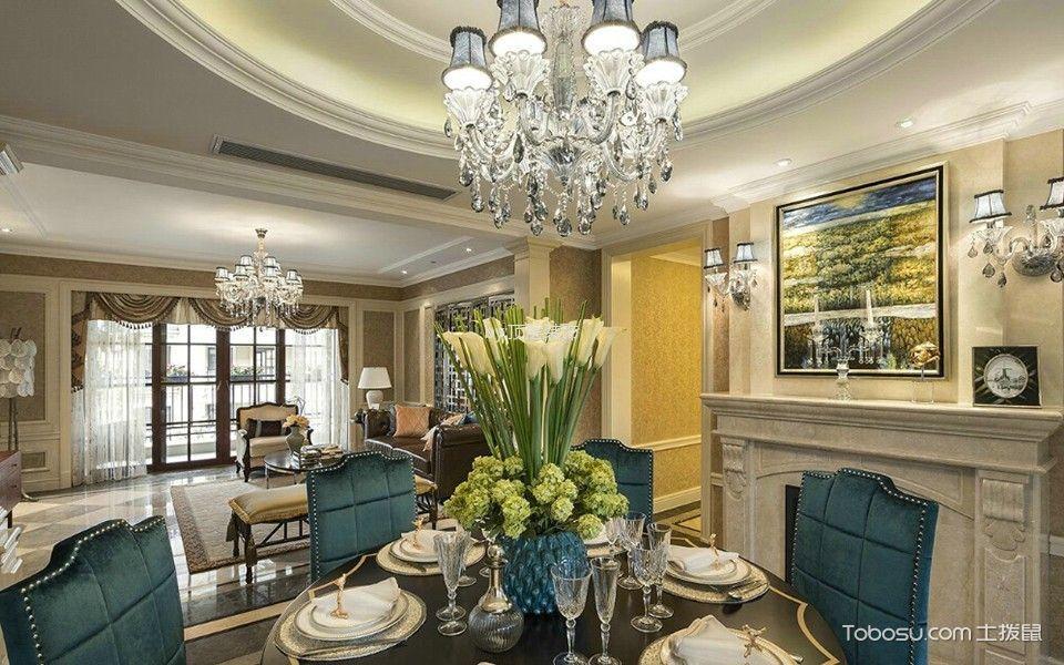 餐厅白色灯具简欧风格装潢图片