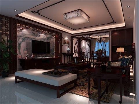 帝景苑120平三居室中式风格效果图