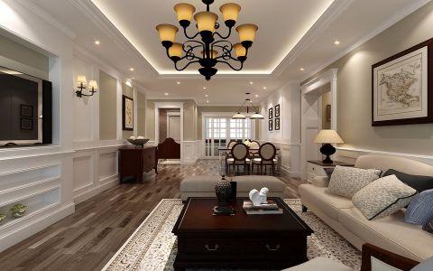 客厅硅藻泥背景墙美式家装设计图