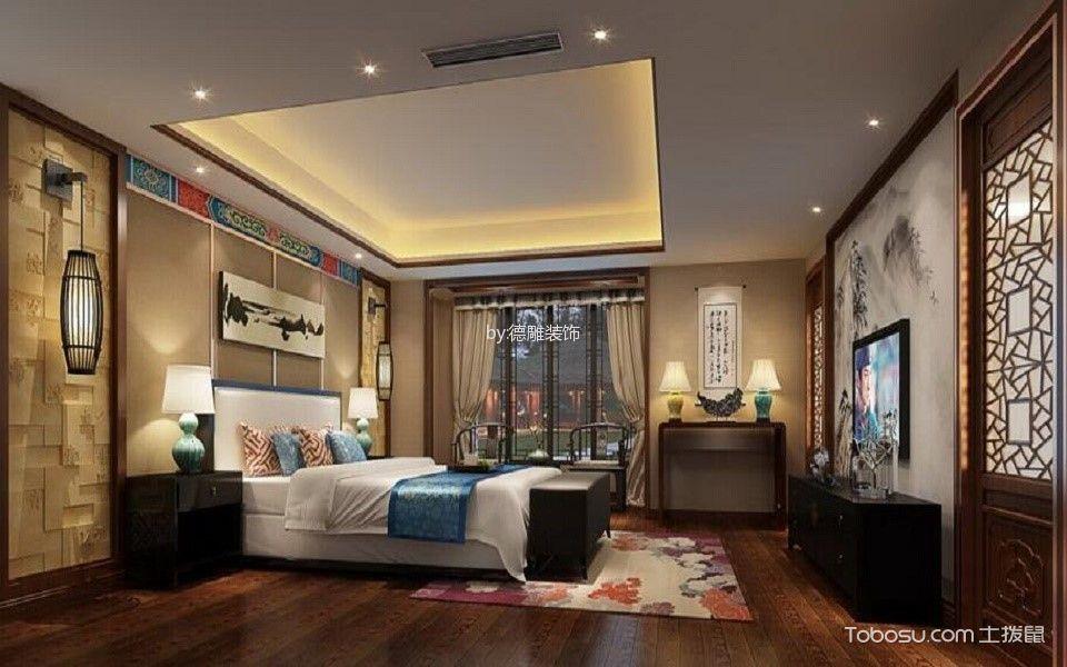 卧室黑色电视柜新中式风格装潢图片
