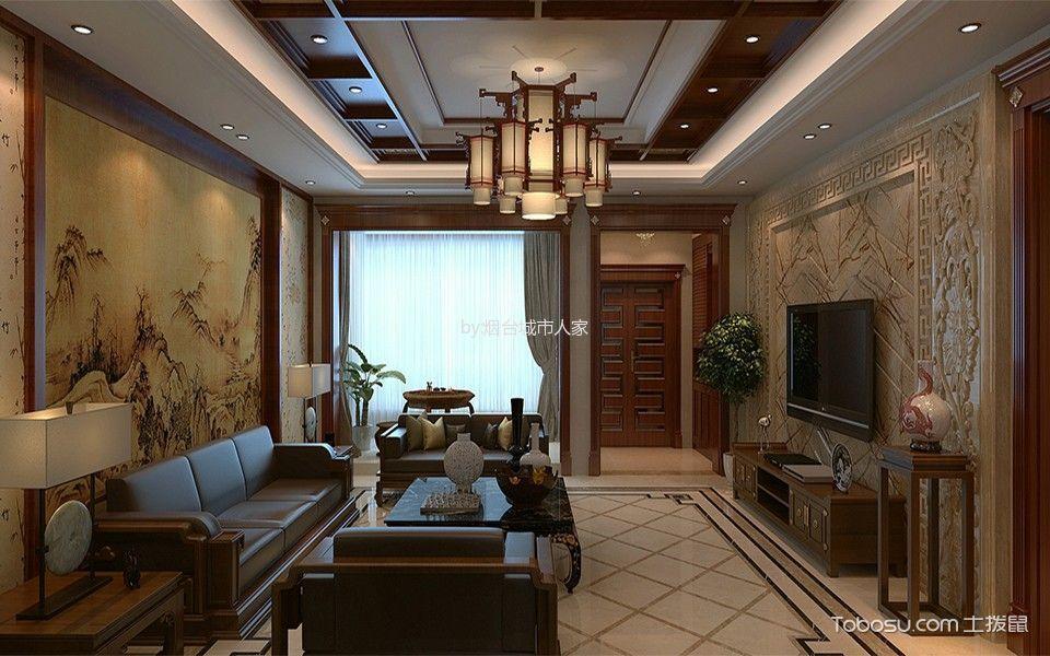 翡翠明珠130平米新中式风格装修案例效果图
