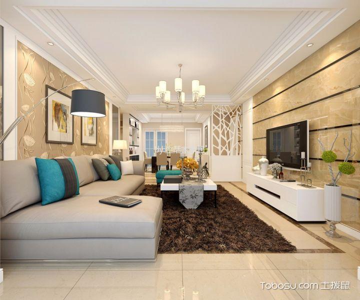 金地自在城130平米现代简约风格三居室装修效果图