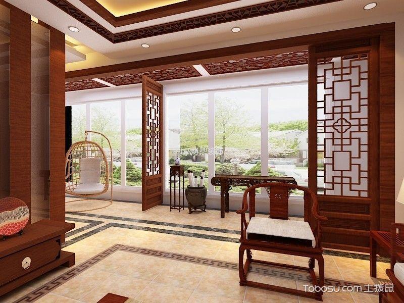 蓬莱绿城城苑三居室中式装饰效果图