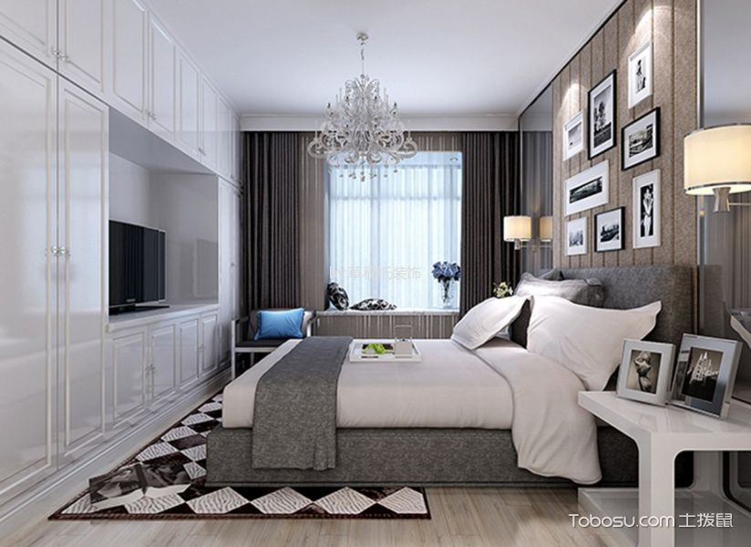 卧室咖啡色照片墙简约风格装饰设计图片