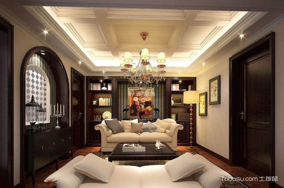客厅咖啡色博古架古典风格装饰设计图片