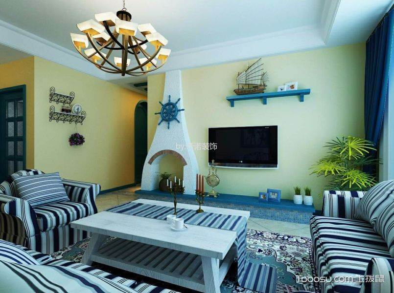 贵和世家美式地中海风格两室装修效果图