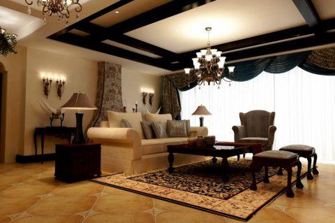 御城美式三居室装修效果图