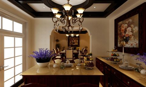 餐厅推拉门美式风格装潢图片