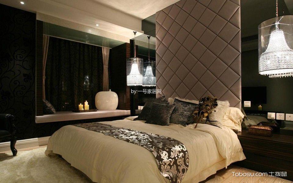 卧室紫色床后现代风格装潢效果图