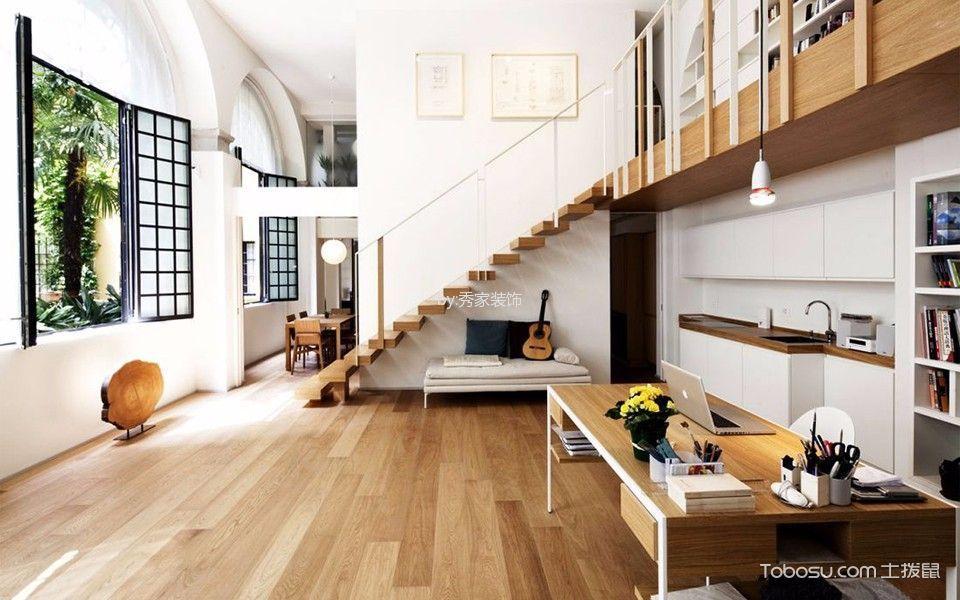 书房黄色楼梯现代简约风格装潢图片