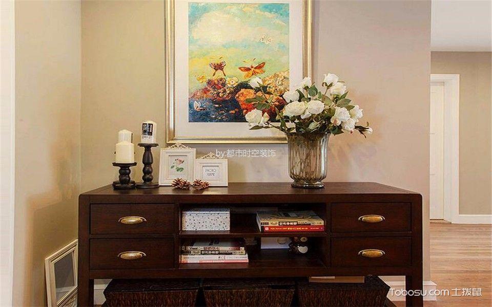 玄关橙色背景墙美式风格装饰设计图片