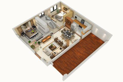 新中式小别墅5万整装效果图