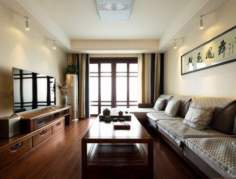 木色茗香—蠡湖家园99平米中式风格三居室装修效果图