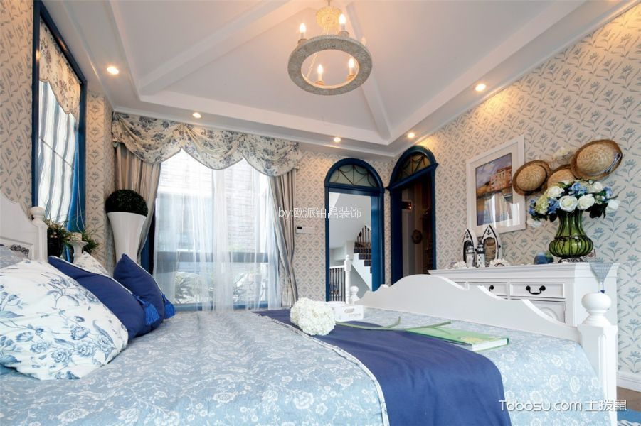卧室 吊顶_地中海风格159平米三室两厅室内装修效果图