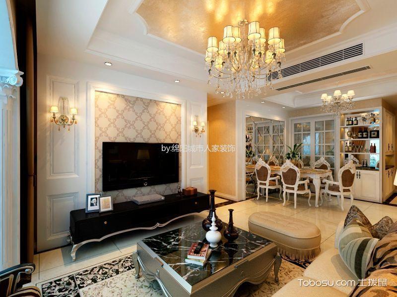 绵阳公园大地97平米三居室简欧风格设计