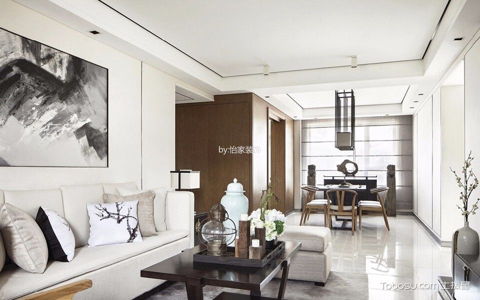 长城公寓135平三居室新中式风格设计效果