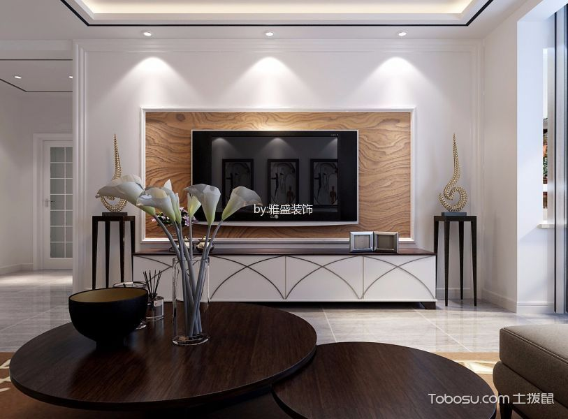 客厅 电视背景墙_瀚唐小区三室白色简约风格装修效果图