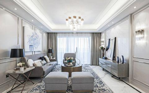 芜湖长江之歌三居室法式风格装修效果图