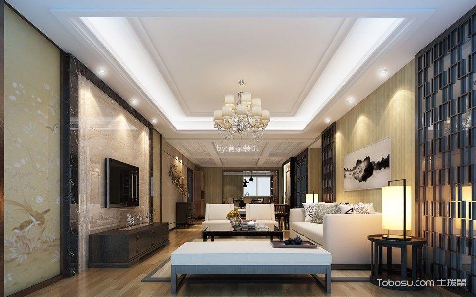 客厅白色吊顶新中式风格装饰图片图片