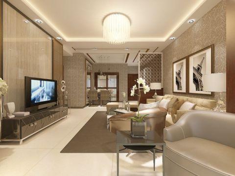 米色100平米现代简约风格三室两厅装修案例2017图片