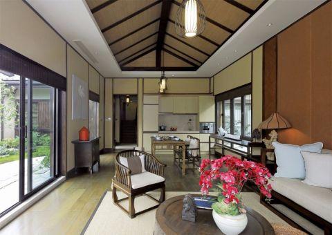 客厅背景墙日式风格装修设计图片